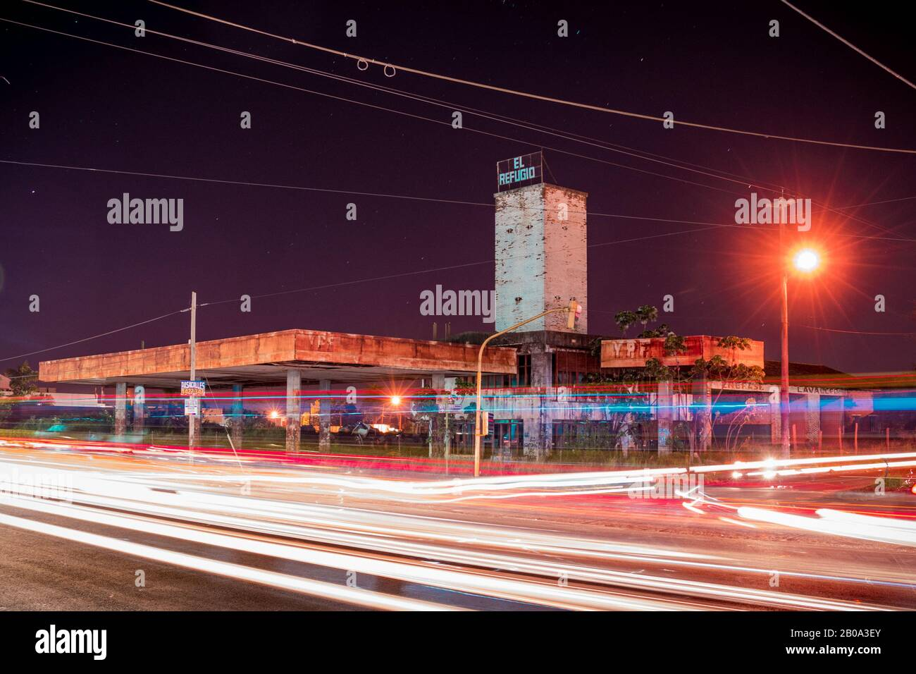 Abandoned Gas Station At Night Stock Photo Alamy
