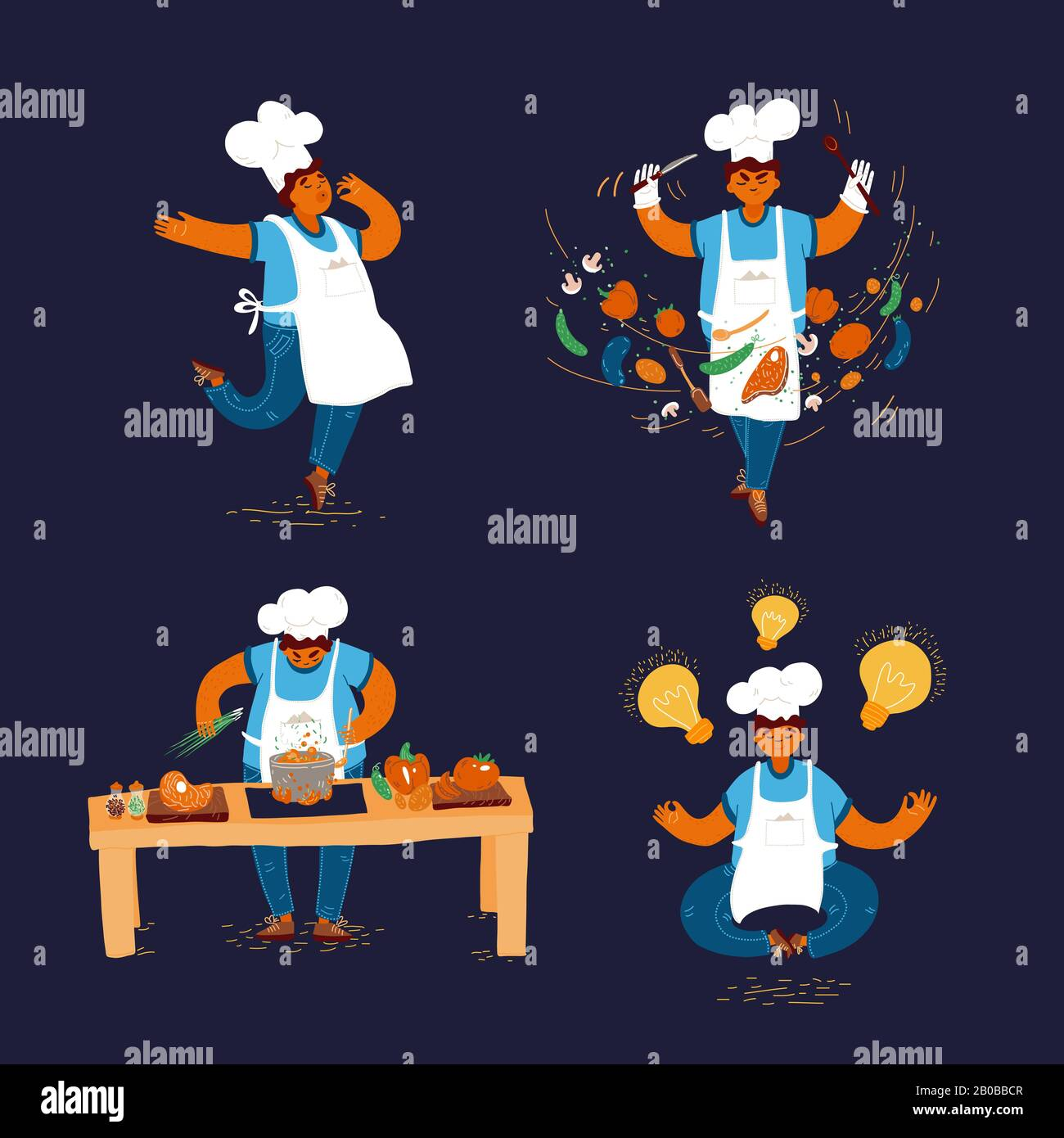 Vector Cartoon Illustration Of Home And Small Restaurant Male Man Cook Concepts Creating Ideas For Cooking Conducting Cook Process Chef Man Showing Stock Vector Image Art Alamy