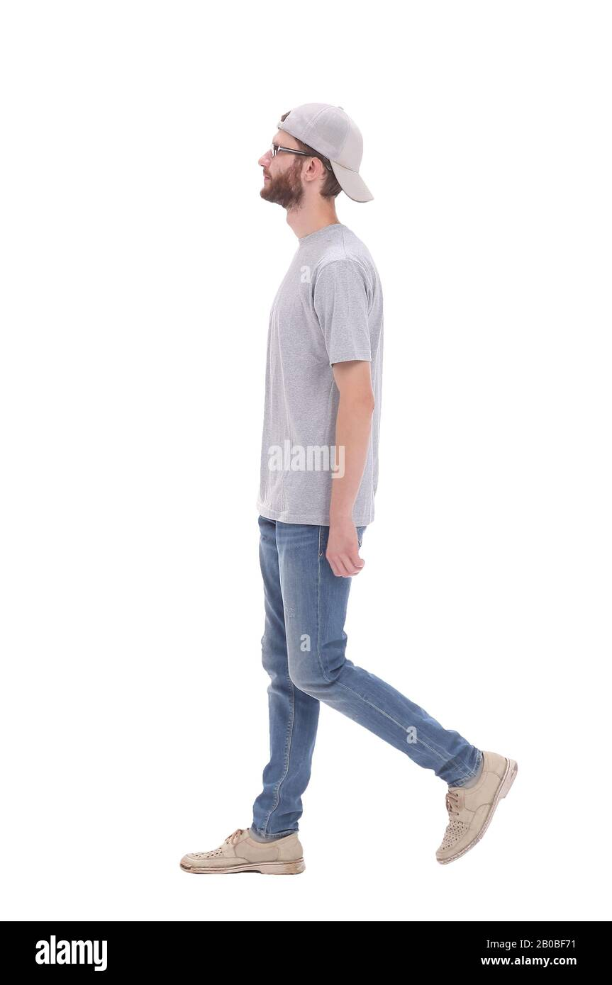 in full growth. modern young man stepping forward Stock Photo