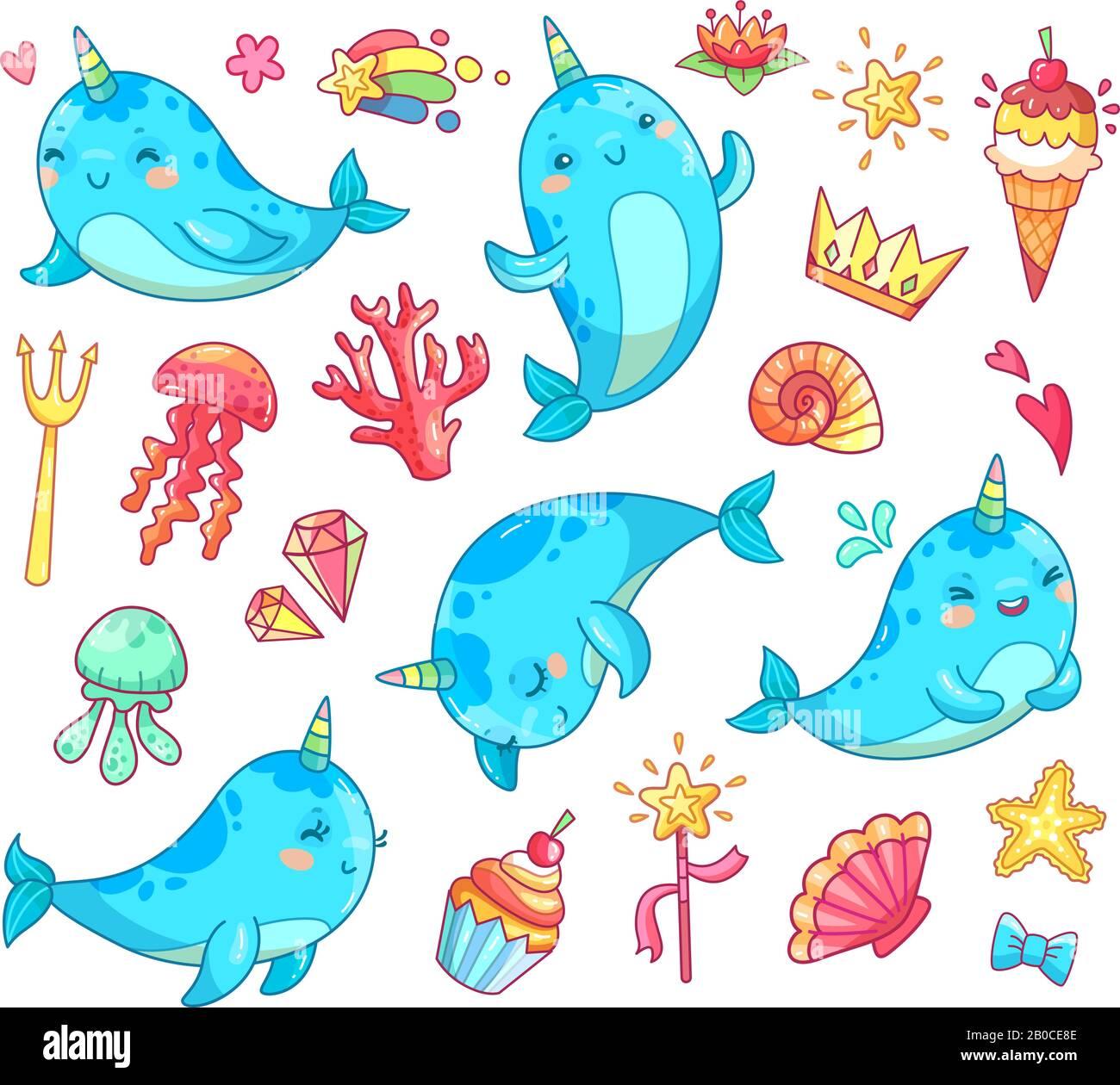 Marine Kawaii Baby Unicorn Narwhal Swimming Blue Funny Anime Whale Vector Cartoon Clipart Stock Vector Image Art Alamy
