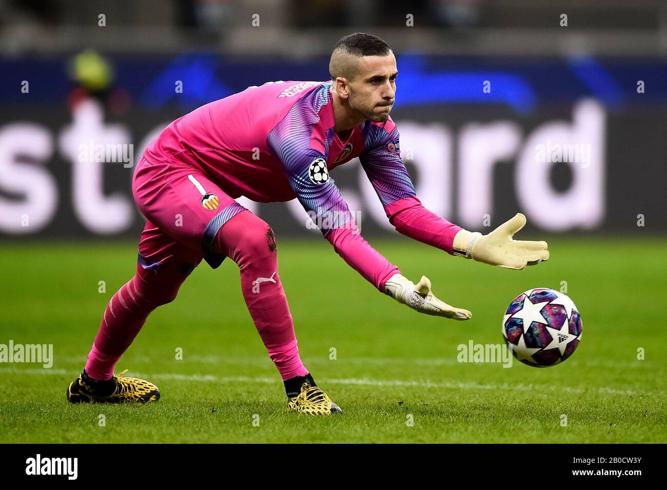 Milan Italy 19 February 2020 Jaume Domenech Of Valencia Cf In Action During The Uefa Champions