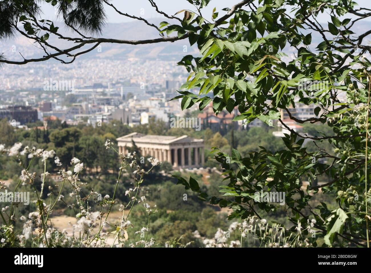 View from the Acropolis to the Temple of Hephaestus. Blick von der Akropolis auf den Tempel des Hephaistos. Stock Photo