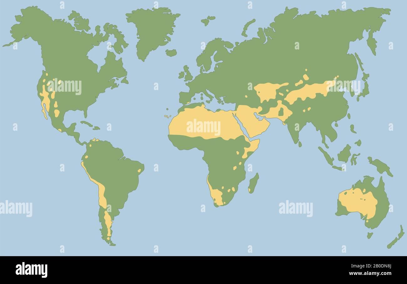 Picture of: Worlds Largest Deserts Like Sahara Gobi Kalahari Arabian Patagonian And Great Basin Desert Global Map With Yellow Desert Climate Stock Photo Alamy