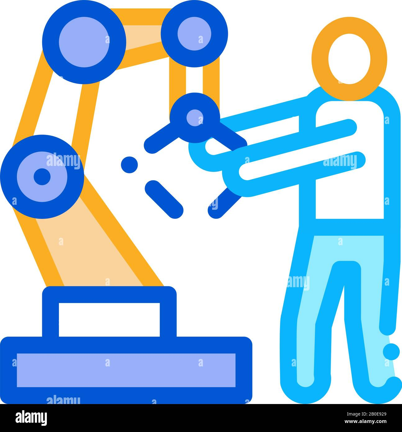 Man And Robot Arm Icon Vector Outline Illustration Stock Vector