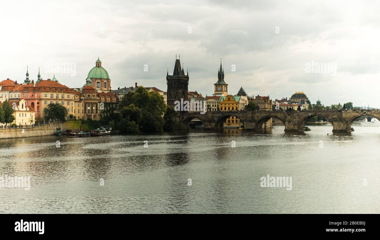 Charles bridge over Vltava River Stock Photo