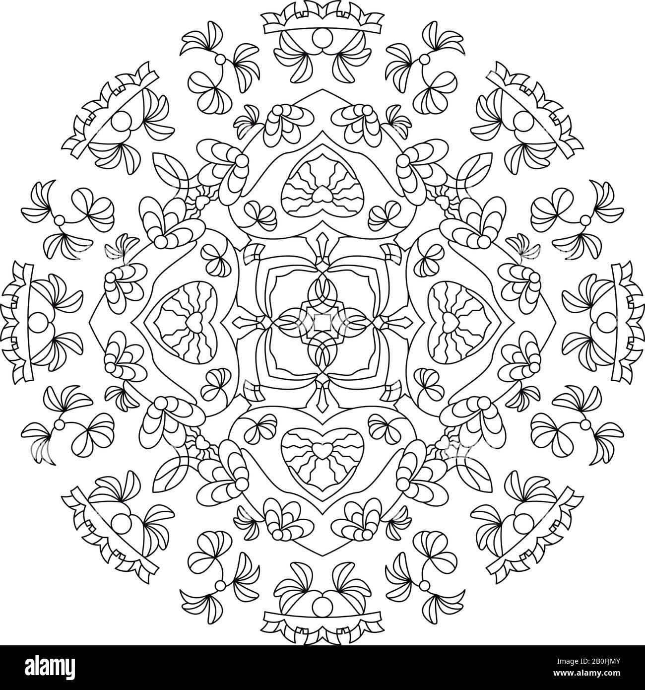 Mandala Coloring Page Hearts Mandala Illustration Vector Art Therapy Decorative Element Stock Vector Image Art Alamy