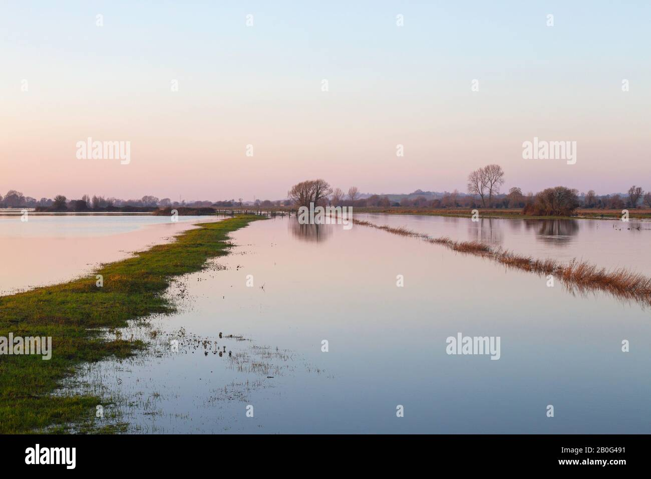 Flooded fields on the Somerset Levels, December 2019. Stock Photo