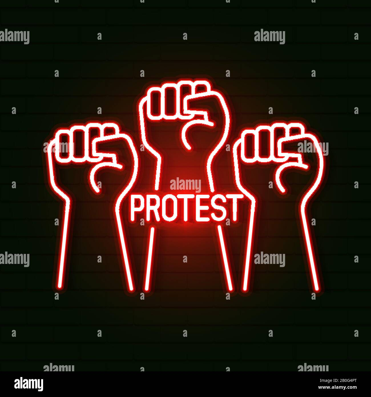 Bright Glowing Symbol On A Black Background. Neon Style Icon.the First Male Hand, A Symbol Of Proletarian Protest. Suitable For Printing Greeting Stock Vector
