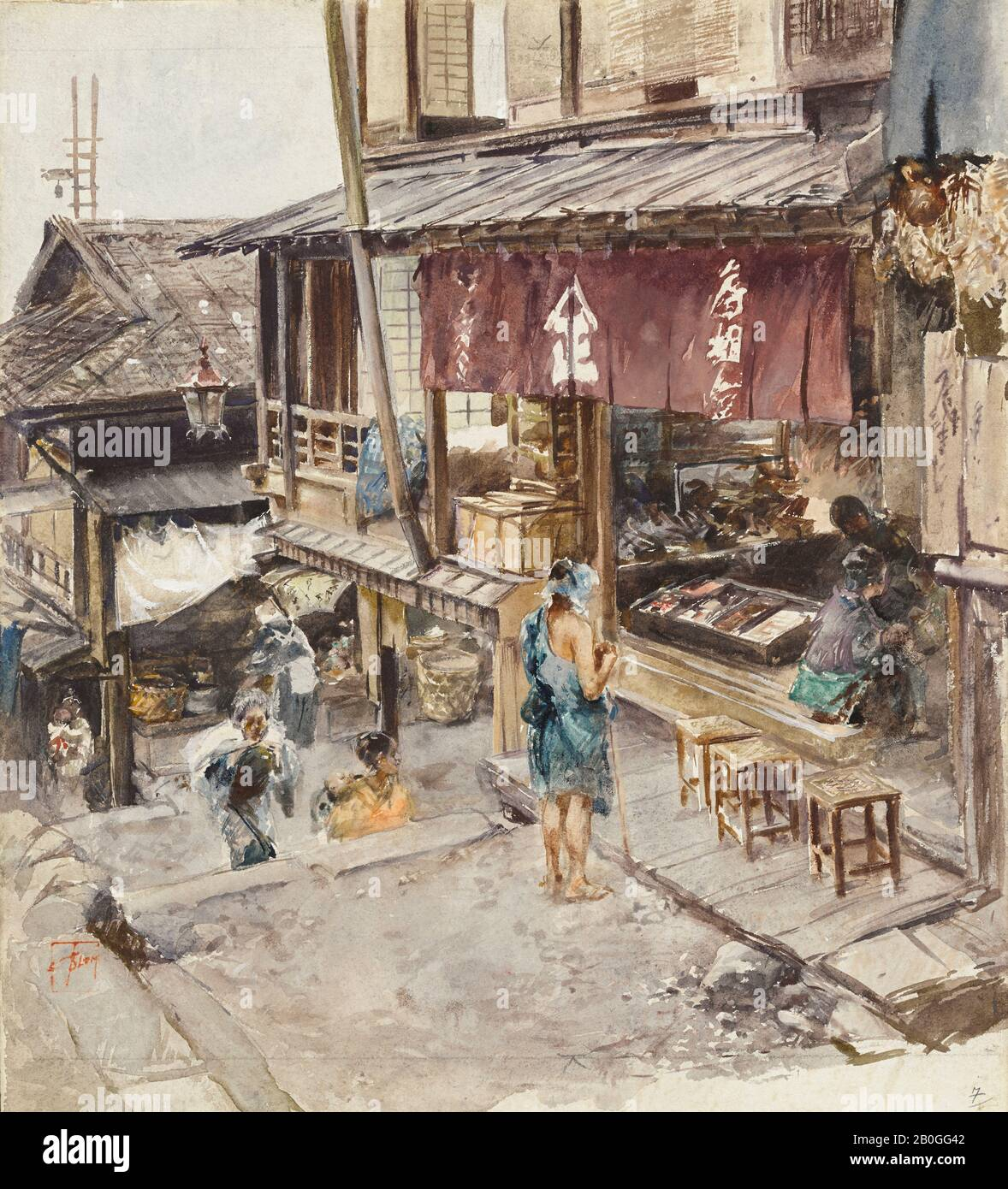 Robert Frederick Blum American 1857 1903 A Street In Ikao Japan Iii 1890 Watercolor And White Gouache Over Pencil On Paper Overall 12 1 16 X 10 7 8 In 30 6 X 27 6 Cm Stock Photo Alamy