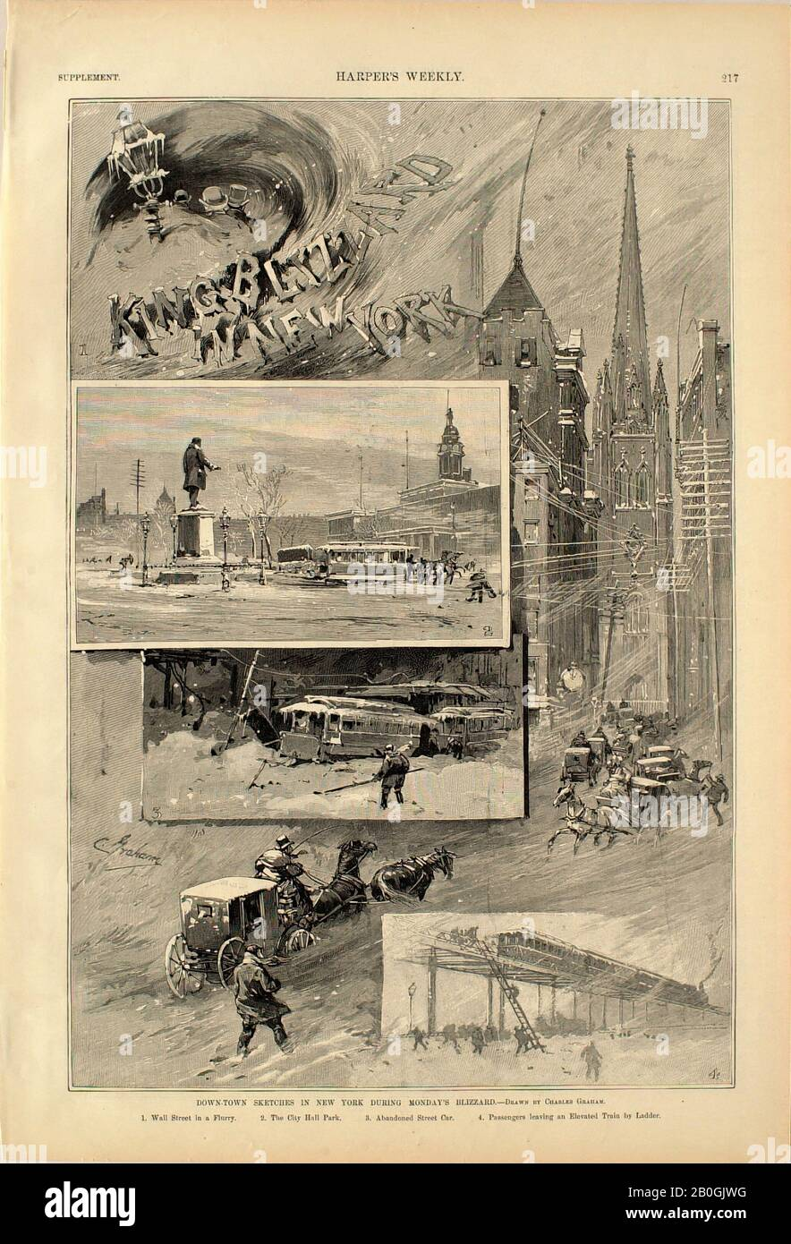 Otto Stark, American, 1859–1926, Charles Graham, (American, 1852–1911), Down-Town Sketches in New York During Monday's Blizzard (recto), 1888, Wood engraving on paper, image: 13 9/16 x 9 1/8 in. (34.4 x 23.1 cm Stock Photo