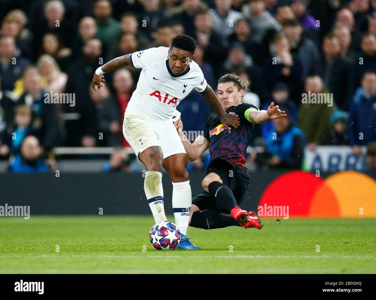 London United Kingdom February 19 L R Tottenham Hotspur S Steven Bergwijn Gets Tackled By Marcel Sabitzer Of Rb Leipzig During Champion League Round Stock Photo Alamy