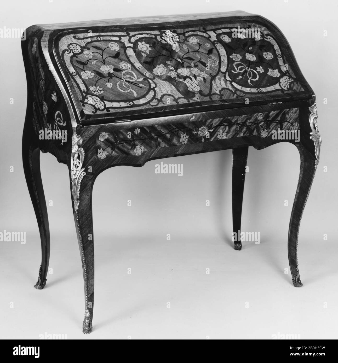 Picture of: Jean Baptiste I Tuart Slant Top Desk French Jean Baptiste I Tuart Ca 1700 Ca 1767 Master 1741 Mid 18th Century French Tulipwood Satine Satinwood Kingwood And Green Stained Wood Leather 38 36 1 2 20 In