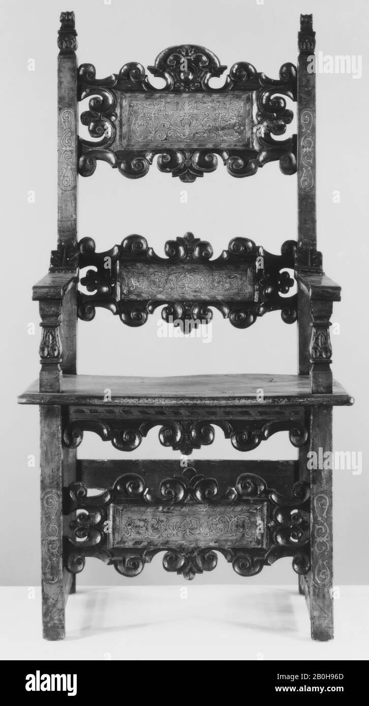 Side chair, Italian, Lombardy or Venice, late 16th century and later, Italian, Lombardy or Venice, Walnut, .1: 49 x 25 x 22-1/2 in. (124.5 x 63.5 x 57.1 cm), .2: 48-5/8 x 24 x 21-1/2 in. (123.5 x 61.0 x 54.6 cm), .3: 46-3/8 x 20 x 18-1/8 in. (117.8 x 50.8 x 46.0 cm), .4: 48-1/8 x 20 x 18-1/4 in. (122.2 x 50.8 x 46.4 cm), .5: 45-1/8 x 20 x 19-3/4 in. (114.6 x 50.8 x 50.2 cm), .6: 45-3/4 x 20-1/4 x 18-1/4 in. (116.2 x 51.4 x 46.4 cm), Woodwork-Furniture Stock Photo