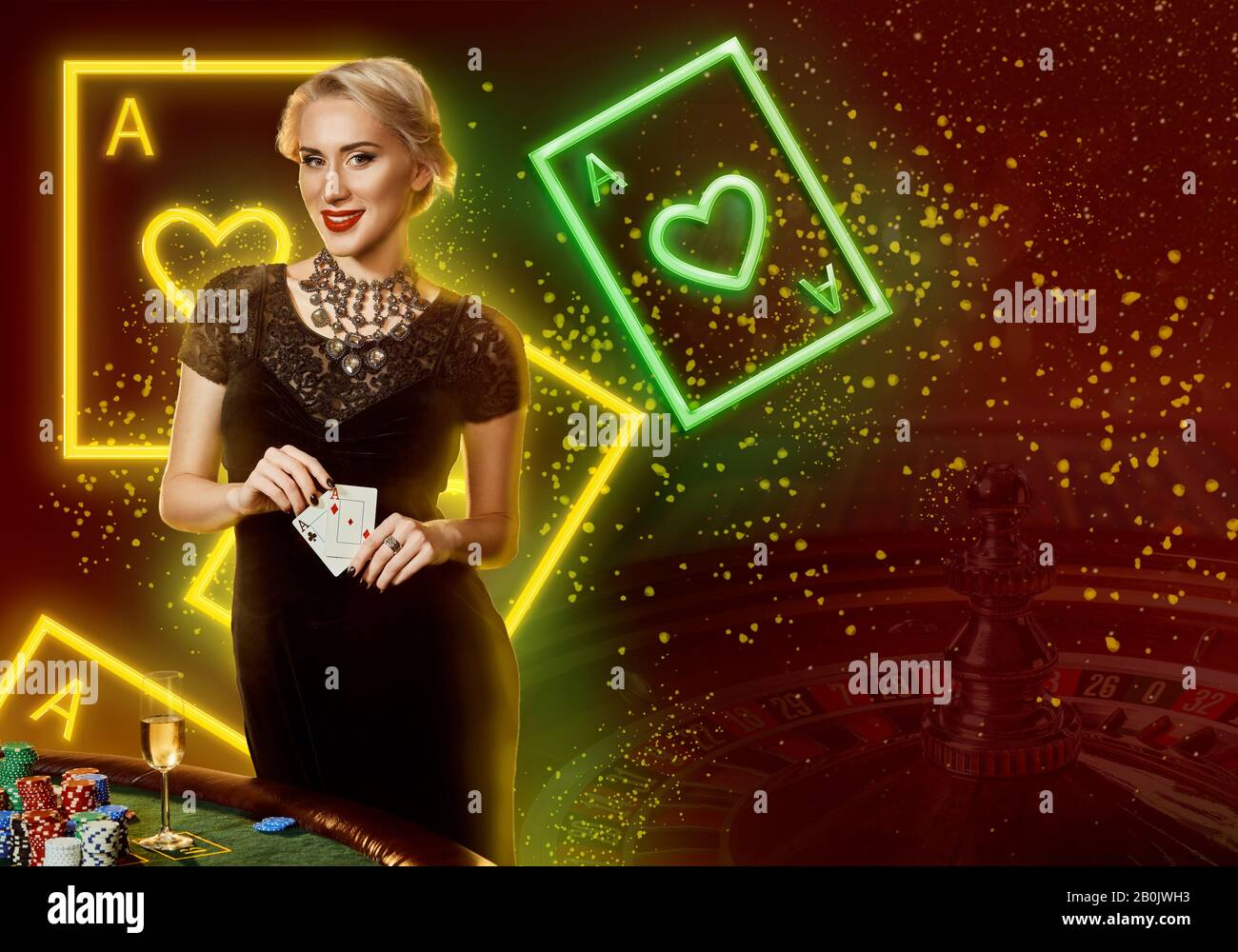 Girl In Black Dress Showing Aces Smiling Posing At Table With Chips Champagne Colorful Background With Neon Playing Cards Roulette Poker Casino Stock Photo Alamy