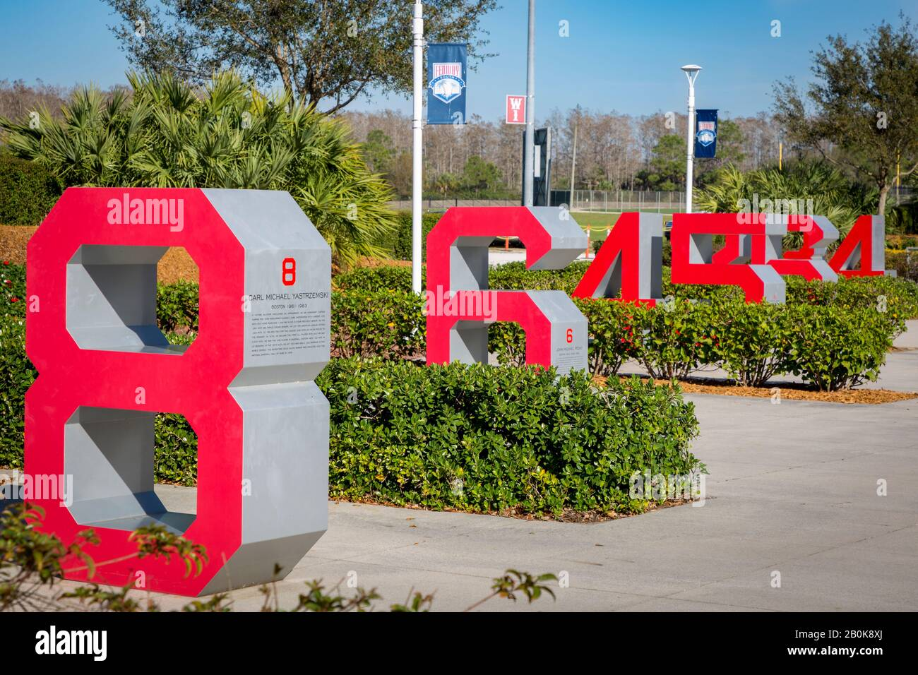 Retired numbers of past players for the Boston Red Sox at JetBlue Park - Red Sox spring training facility, Ft Myers, Florida, USA Stock Photo