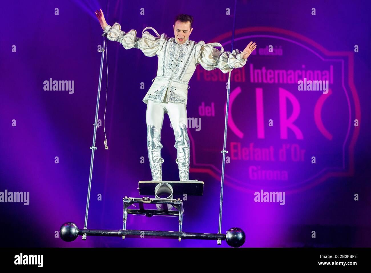 GIRONA, SPAIN - FEBRUARY 17: Belarus Vladimir Ivanov performs balancing during 'Elefant d'Or' International Circus Festival at Parc de la Devesa on Fe Stock Photo