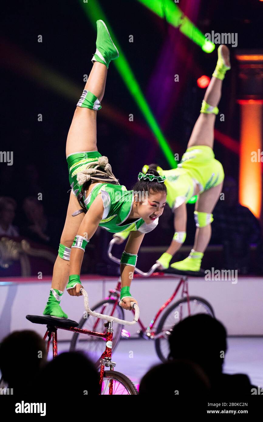 GIRONA, SPAIN - FEBRUARY 18: Chinese Yinchuan Acrobatic Troupe of China perform during 'Elefant d'Or' International Circus Festival at Parc de la Deve Stock Photo