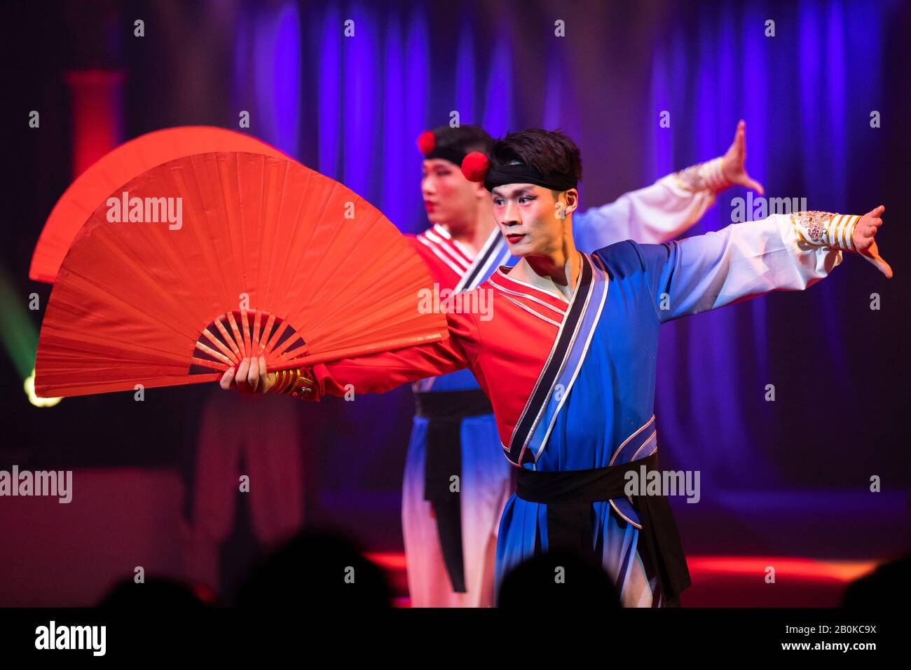 GIRONA, SPAIN - FEBRUARY 18: Anhui Acrobatic Troupe of China perform during 'Elefant d'Or' International Circus Festival at Parc de la Devesa on Febru Stock Photo