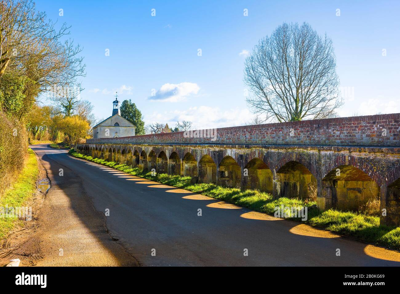 A section of the ancient raised causeway across the River Avon and flood plains at Tytherton Kellaways near Chippenham Wiltshire England UK Stock Photo
