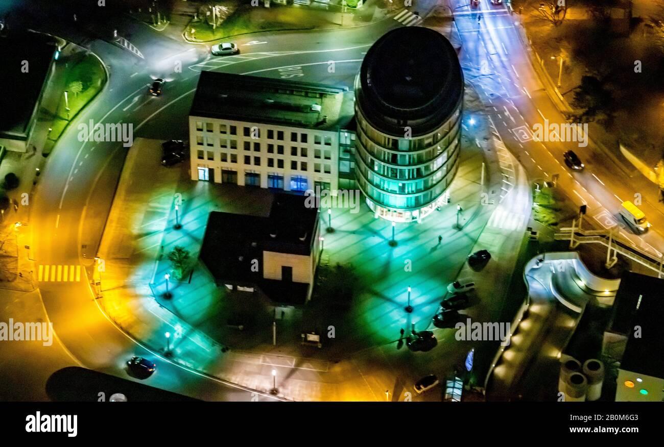 Aerial photo flight over the nocturnal Unna, Jobcenter Kreis Unna, ZOB, ÖPNV, public transport, bus station Unna, Bahnhofstraße, Kantstraße, Unna, Ruh Stock Photo