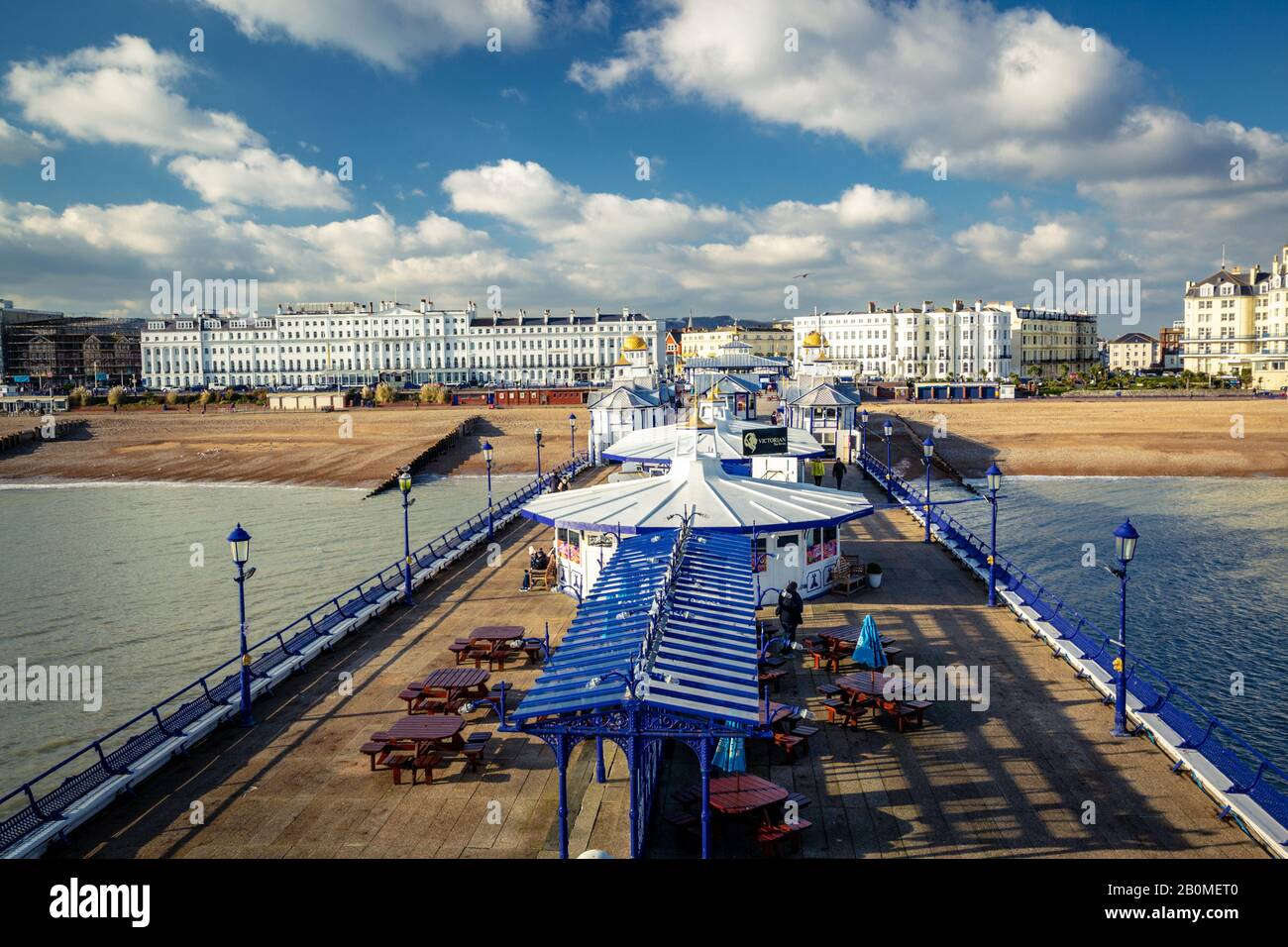 Eastbourne pier, view from the top on a cold sunny winter day, looking towards the Town and the Claremont hotel before the fire Stock Photo