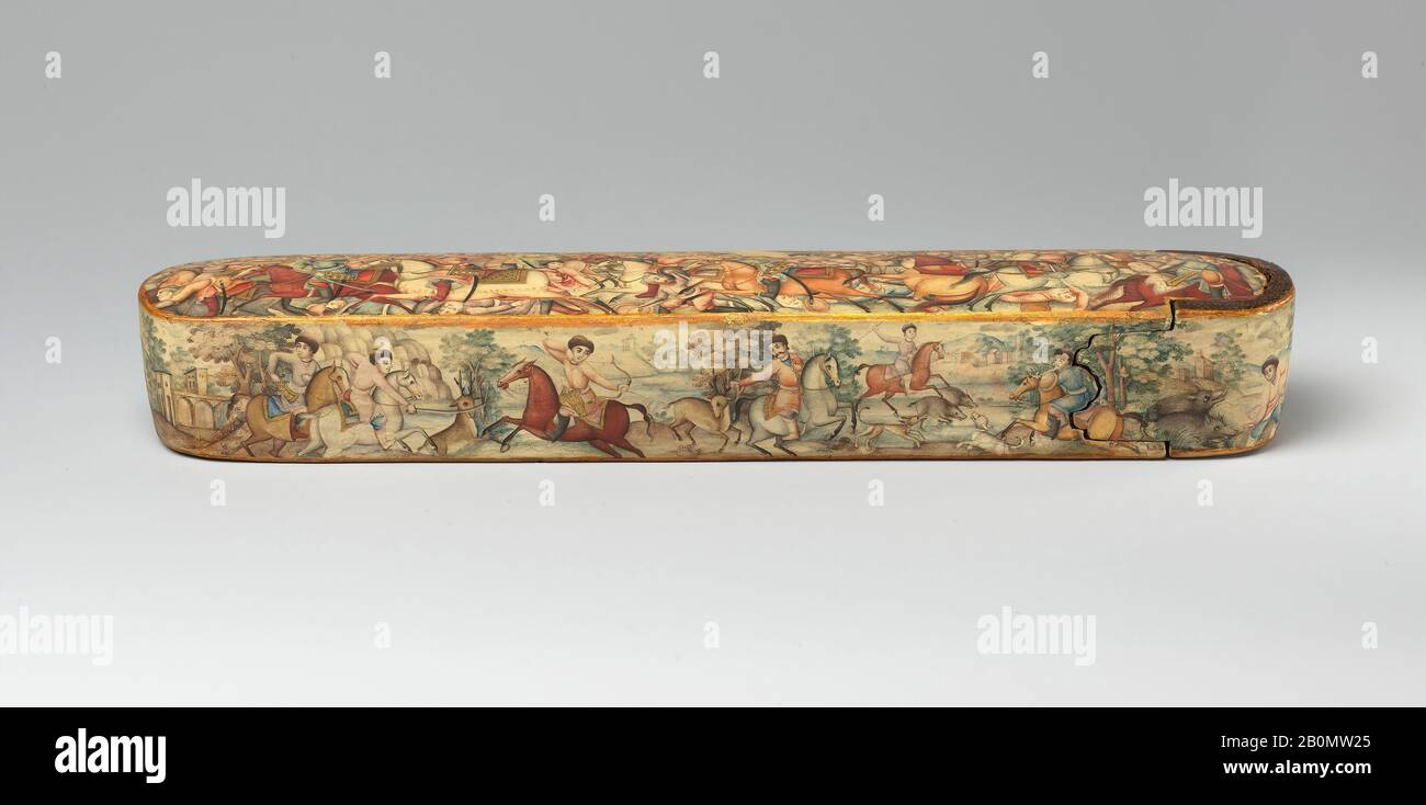 Pen Box (Qalamdan) Depicting Shah Isma'il in a Battle against the Uzbeks, Pen box, early 19th century, Attributed to Iran, Papier-maché; painted and lacquered, H. 1 1/2 in. (3.8 cm), W. 10 1/8 in. (25.7 cm), D. 1 7/8 in. (4.8 cm), Lacquer Stock Photo