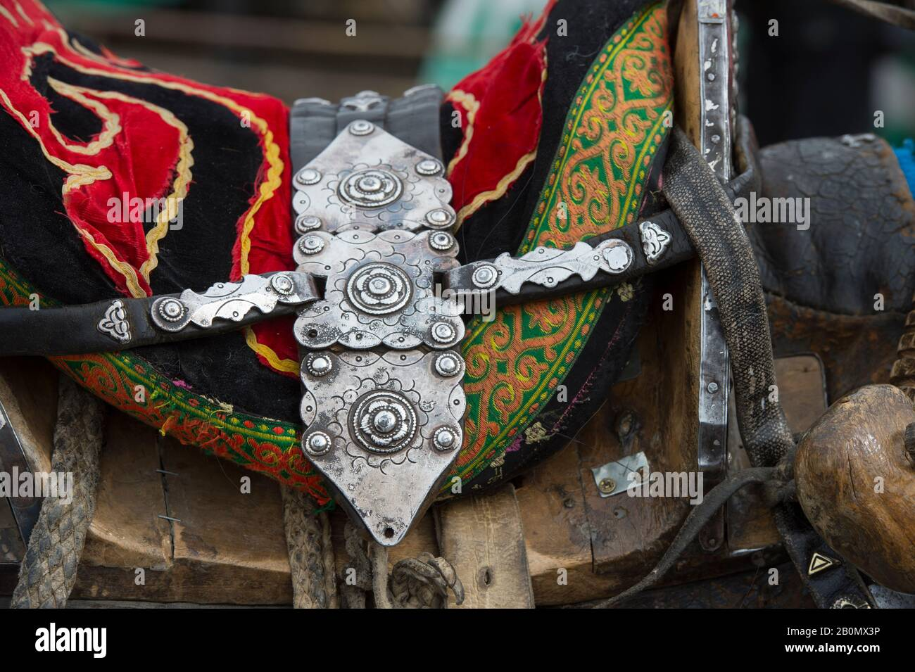Decorated horse saddle on a horse at the Golden Eagle Festival grounds near the city of Ulgii (Ölgii) in the Bayan-Ulgii Province in western Mongolia. Stock Photo