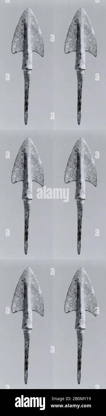 Arrowhead, Iran, Iron Age, Date 2nd–1st millennium B.C., Iran, Iran, Bronze, 0.91 x 3.43 in. (2.31 x 8.71 cm), Metalwork-Implements Stock Photo