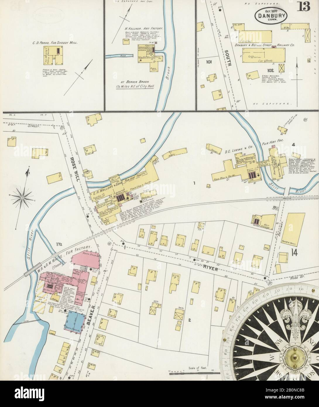 Image 13 of Sanborn Fire Insurance Map from Danbury, Fairfield County, Connecticut. Oct 1897. 19 Sheet(s), America, street map with a Nineteenth Century compass Stock Photo