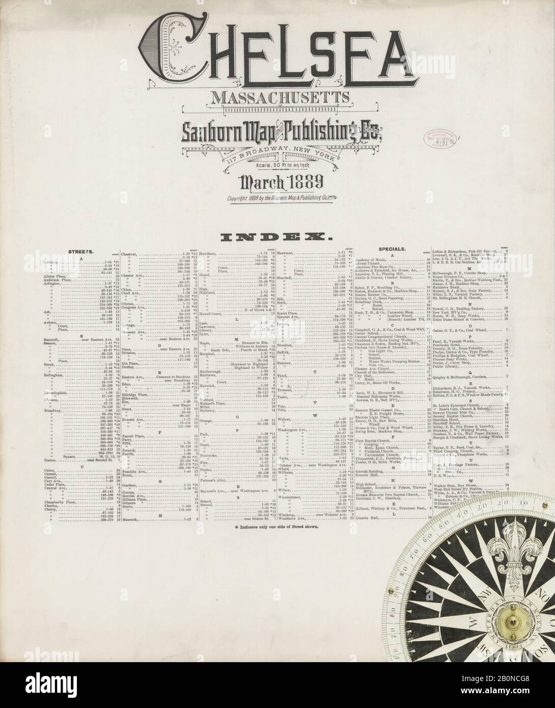 Image 1 of Sanborn Fire Insurance Map from Chelsea, Suffolk County, Massachusetts. Mar 1889. 25 Sheet(s), America, street map with a Nineteenth Century compass Stock Photo