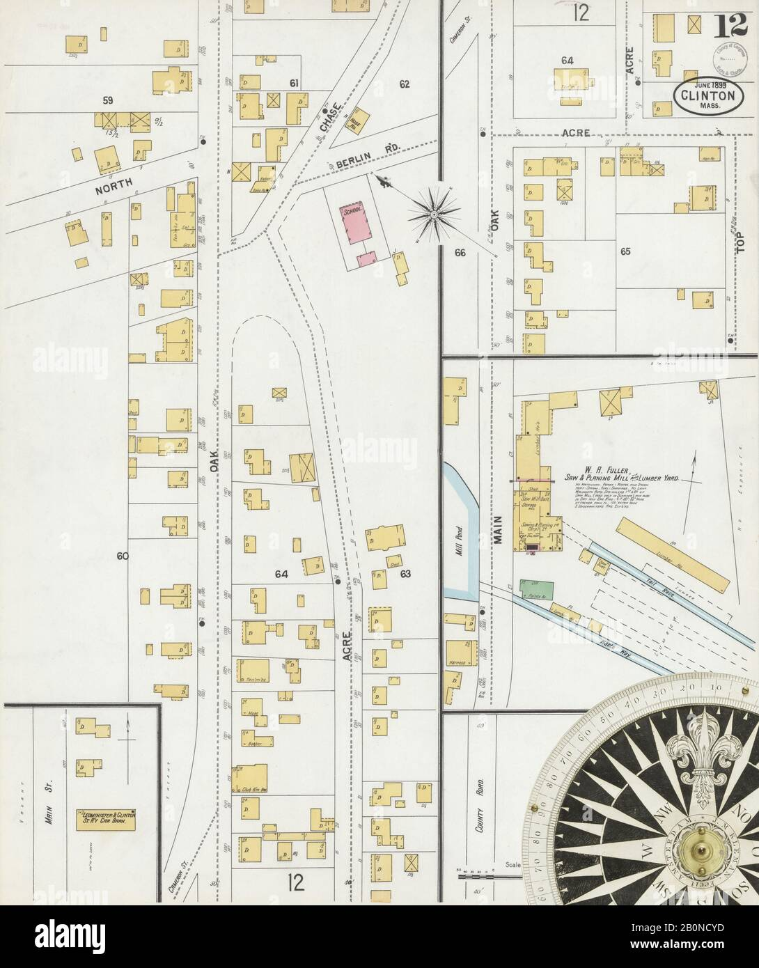 Image 12 of Sanborn Fire Insurance Map from Clinton, Worcester County, Massachusetts. Jun 1899. 12 Sheet(s), America, street map with a Nineteenth Century compass Stock Photo