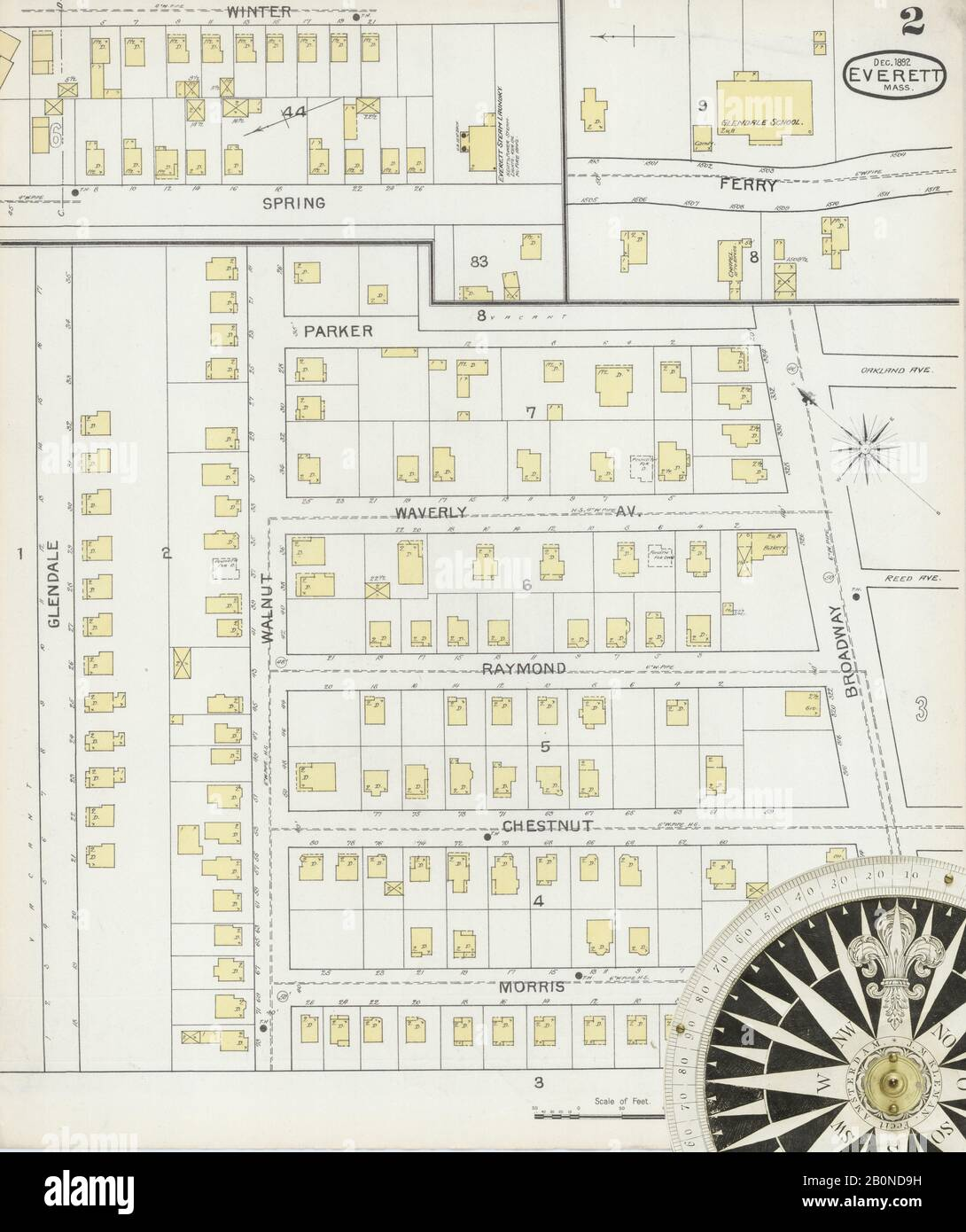 Image 2 of Sanborn Fire Insurance Map from Everett, Middlesex County, Massachusetts. Dec 1892. 16 Sheet(s), America, street map with a Nineteenth Century compass Stock Photo