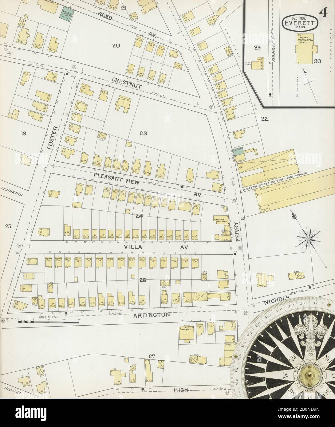Image 4 of Sanborn Fire Insurance Map from Everett, Middlesex County, Massachusetts. Dec 1892. 16 Sheet(s), America, street map with a Nineteenth Century compass Stock Photo