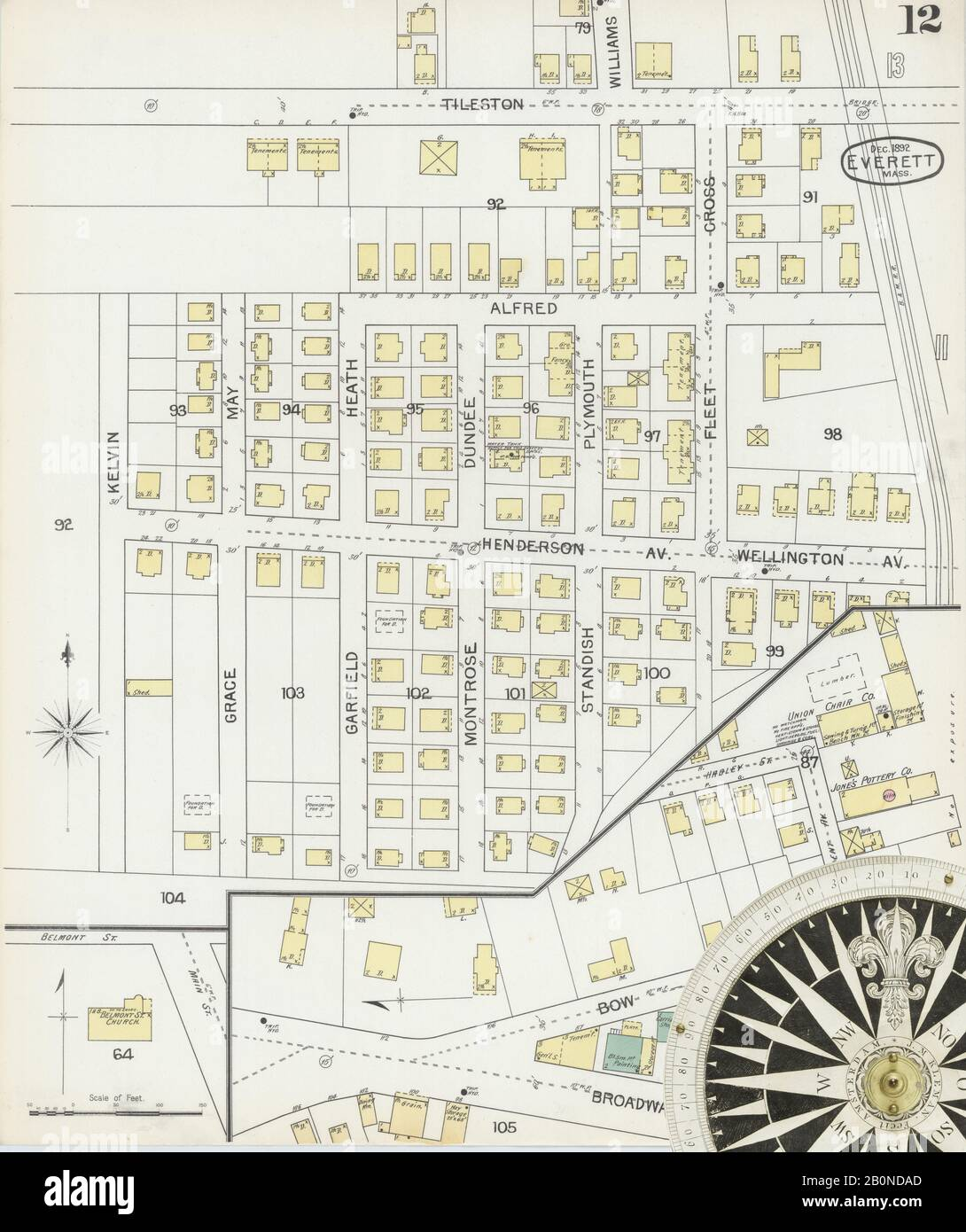 Image 12 of Sanborn Fire Insurance Map from Everett, Middlesex County, Massachusetts. Dec 1892. 16 Sheet(s), America, street map with a Nineteenth Century compass Stock Photo