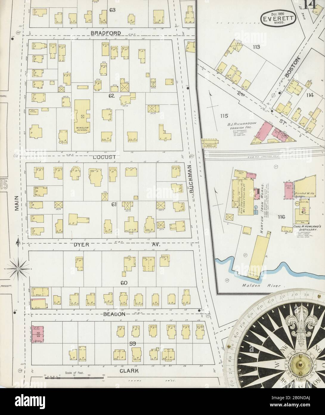 Image 14 of Sanborn Fire Insurance Map from Everett, Middlesex County, Massachusetts. Dec 1892. 16 Sheet(s), America, street map with a Nineteenth Century compass Stock Photo