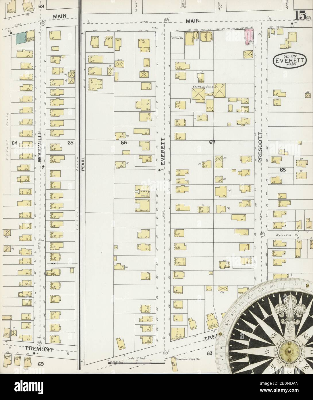 Image 15 of Sanborn Fire Insurance Map from Everett, Middlesex County, Massachusetts. Dec 1892. 16 Sheet(s), America, street map with a Nineteenth Century compass Stock Photo