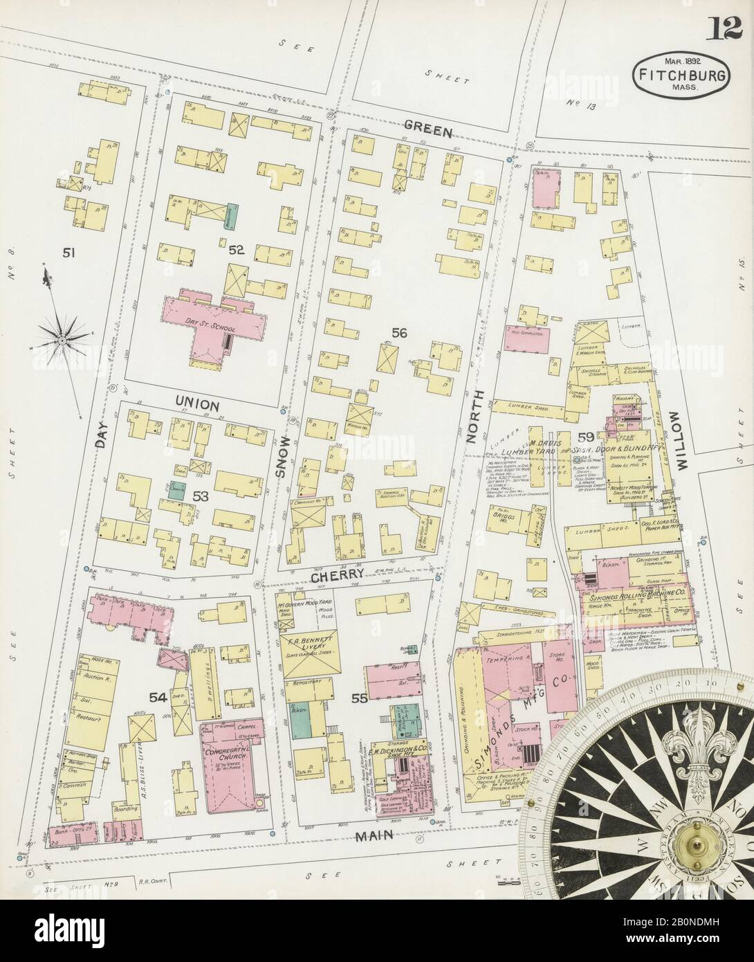 Image 12 of Sanborn Fire Insurance Map from Fitchburg, Worcester County, Massachusetts. Mar 1892. 23 Sheet(s), America, street map with a Nineteenth Century compass Stock Photo