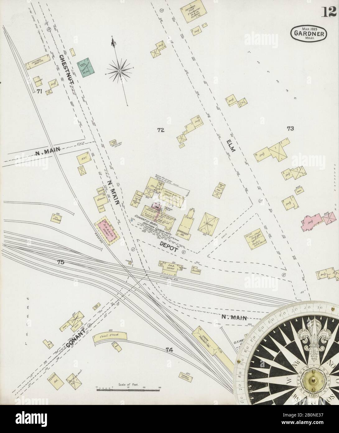 Image 12 of Sanborn Fire Insurance Map from Gardner, Worcester County, Massachusetts. Mar 1889. 12 Sheet(s), America, street map with a Nineteenth Century compass Stock Photo