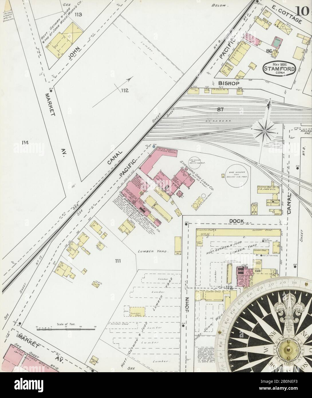 Image 10 of Sanborn Fire Insurance Map from Stamford, Fairfield County, Connecticut. May 1892. 17 Sheet(s), America, street map with a Nineteenth Century compass Stock Photo