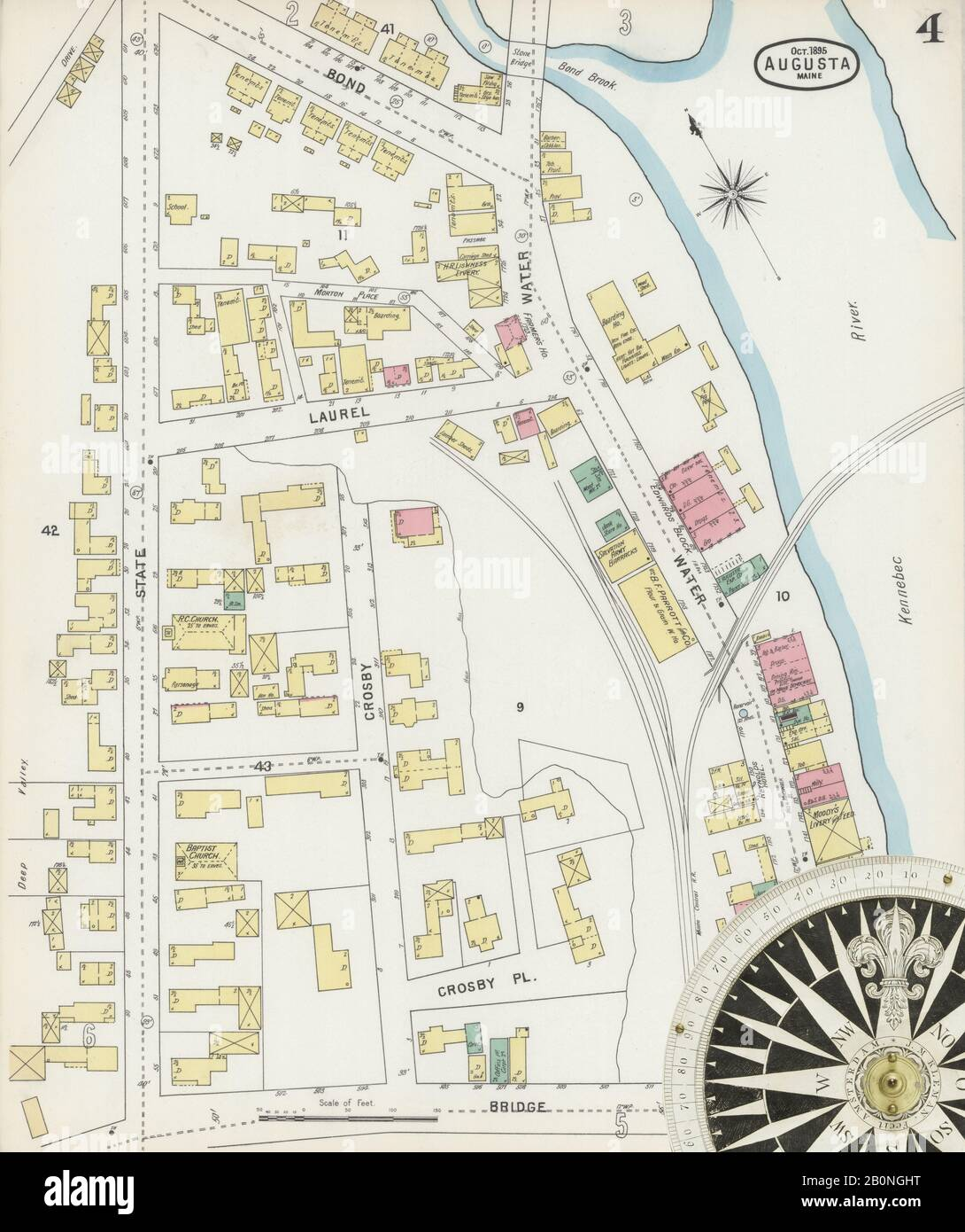 Image 4 of Sanborn Fire Insurance Map from Augusta, Kennebec County, Maine. Oct 1895. 13 Sheet(s), America, street map with a Nineteenth Century compass Stock Photo