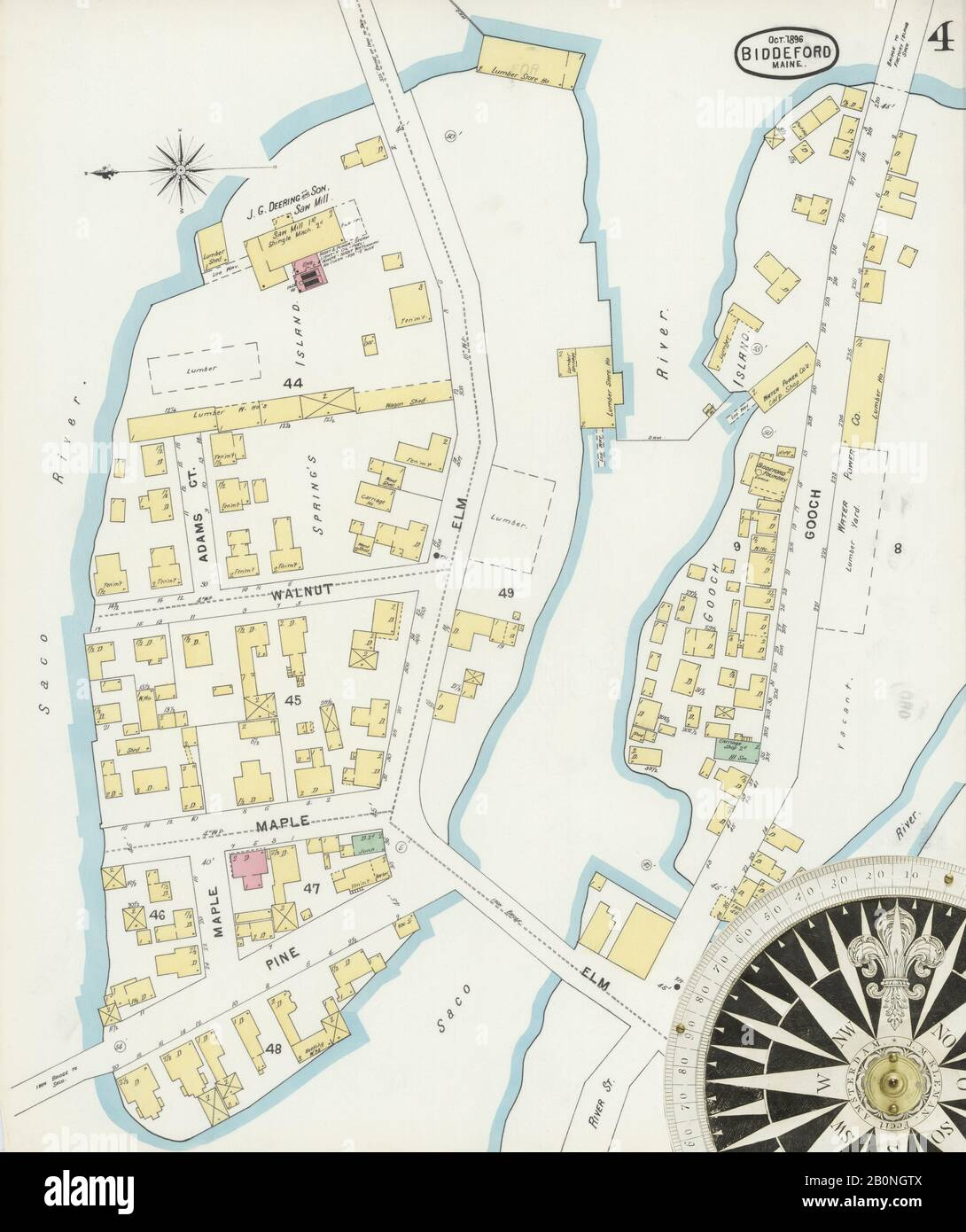 Image 4 Of Sanborn Fire Insurance Map From Biddeford York County Maine Oct 1896 9 Sheet S America Street Map With A Nineteenth Century Compass Stock Photo Alamy