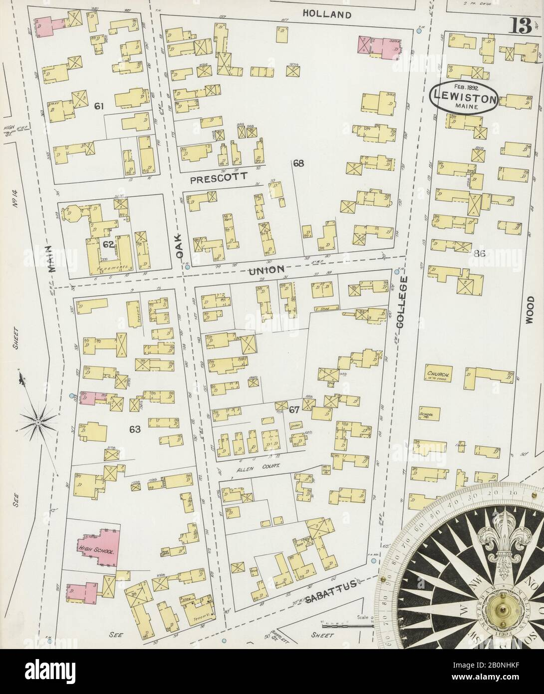 Image 13 of Sanborn Fire Insurance Map from Lewiston, Androscoggin County, Maine. Feb 1892. 15 Sheet(s), America, street map with a Nineteenth Century compass Stock Photo