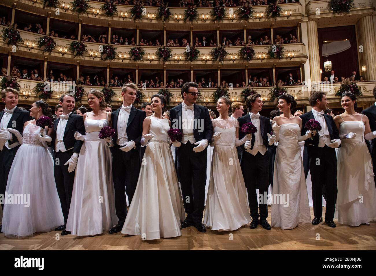 Vienna, Austria. 20th Feb, 2020. Dancers attend the Opera Ball at the State Opera House in Vienna, Austria, Feb. 20, 2020. The 2020 Vienna Opera Ball was held on Thursday night. Credit: Guo Chen/Xinhua/Alamy Live News Stock Photo