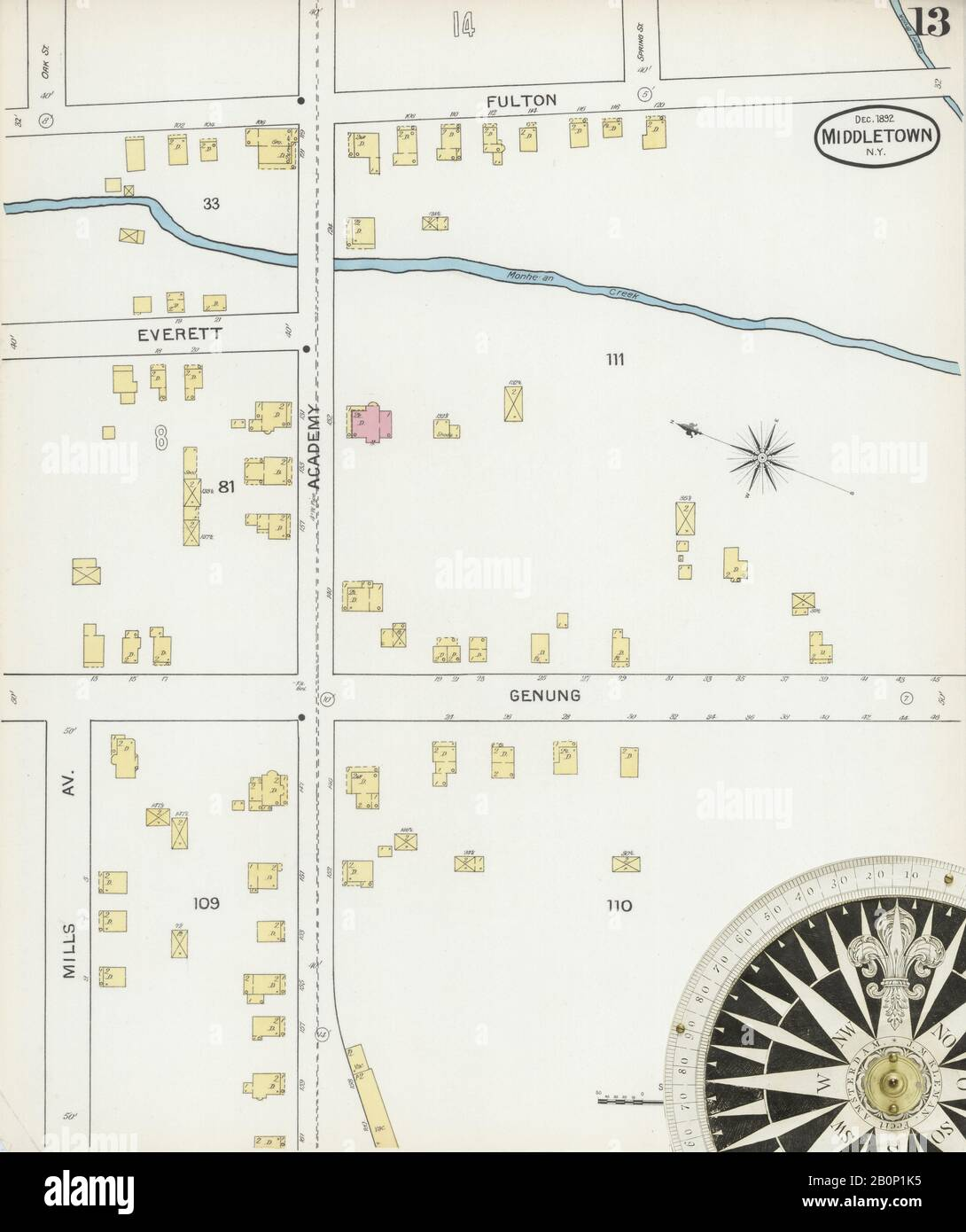 Image 13 of Sanborn Fire Insurance Map from Middletown, Orange County, New York. Dec 1892. 17 Sheet(s), America, street map with a Nineteenth Century compass Stock Photo