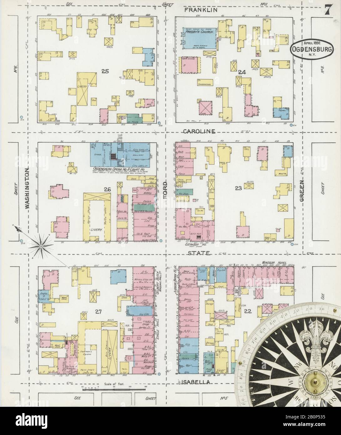 Image 7 of Sanborn Fire Insurance Map from Ogdensburg, St. Lawrence County, New York. Apr 1892. 16 Sheet(s), America, street map with a Nineteenth Century compass Stock Photo