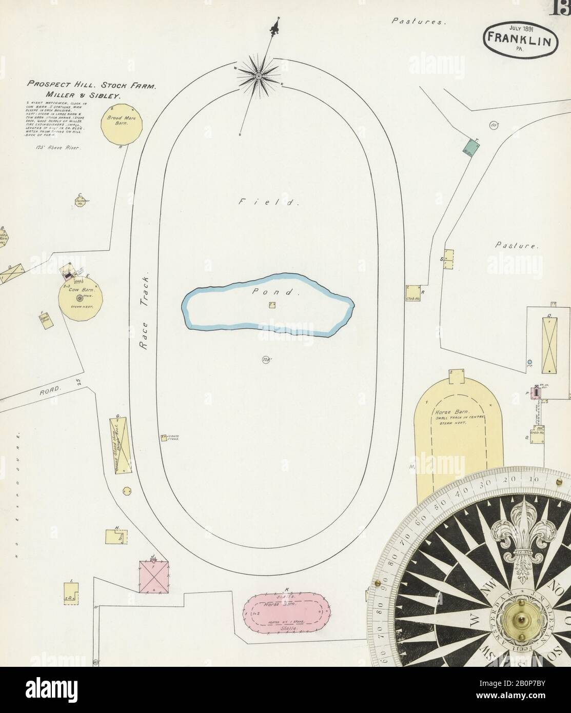Image 13 of Sanborn Fire Insurance Map from Franklin, Venango County, Pennsylvania. Aug 1891. 13 Sheet(s), America, street map with a Nineteenth Century compass Stock Photo