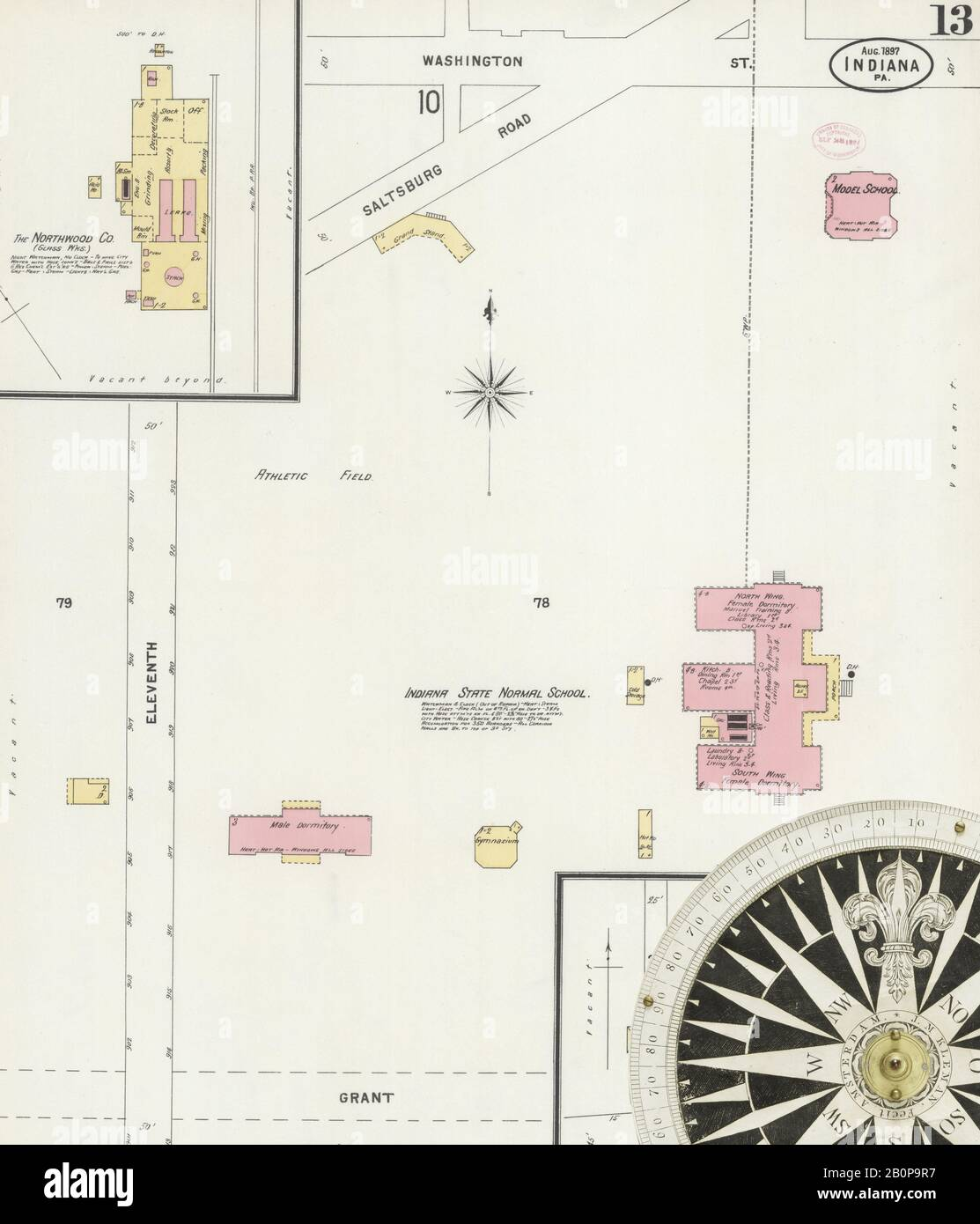 Image 13 of Sanborn Fire Insurance Map from Indiana, Indiana County, Pennsylvania. Aug 1897. 13 Sheet(s), America, street map with a Nineteenth Century compass Stock Photo