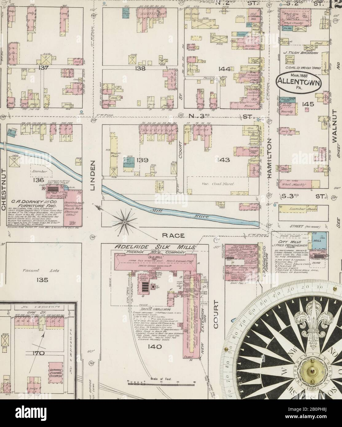 Image 12 of Sanborn Fire Insurance Map from Allentown, Lehigh County, Pennsylvania. Mar 1885. 25 Sheet(s), America, street map with a Nineteenth Century compass Stock Photo