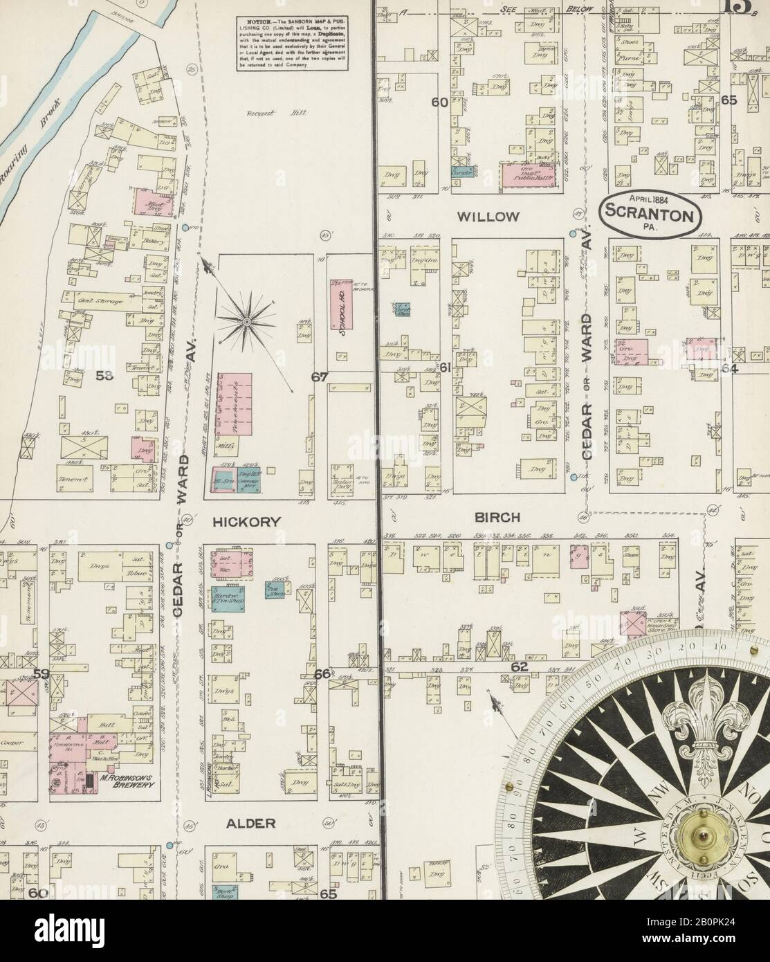 Image 13 of Sanborn Fire Insurance Map from Scranton, Lackawanna County, Pennsylvania. Apr 1884. 18 Sheet(s), America, street map with a Nineteenth Century compass Stock Photo