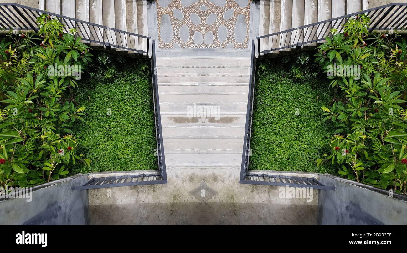 Cement Outdoor Stairs Into The Green Garden Modern Stairway Symmetry Staircase Photo Outdoor Exterior Decoration Design Stock Photo Alamy,Indian Salon Interior Design